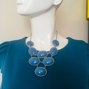 Statement necklace silver tone